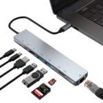WC7367 8 in 1 USB-C HUB Multi-function Laptop Type-C Docking Station Converter