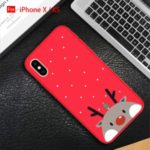 Christmas Red Silicone Shockproof Phone Case for iPhone 11 X XS XR XS Max – Grey Deer//X/XS
