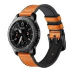 Genuine Leather Coated Silicone Smart Watch Strap for Samsung Gear S3 Classic / Gear S3 Frontier – Light Brown