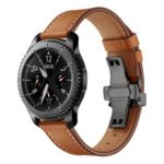 Genuine Leather Watch Strap Replacement for Samsung Gear S3 Classic / Gear S3 Frontier – Black/Brown