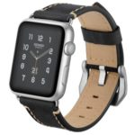 Crazy Horse Genuine Leather Coated Smart Watch Strap for Apple Watch Series 5/4 40mm / Series 3/2/1 38mm – Black