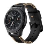 Top Layer Cowhide Leather Watch Strap Watchband Replacement for Samsung Gear S3 Classic/S3 Frontier – Black