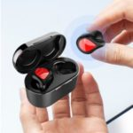 TWS Wireless Bluetooth 5.0 Earphone Headset Waterproof Sports Headphone with Charging Bin – Red