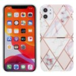 For iPhone 11 6.1 inch Geometric Splicing Marble Pattern IMD TPU Case Cover – White