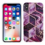 Geometric Splicing Marble Pattern IMD TPU Cover for iPhone XS Max 6.5 inch – Dark Purple