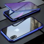 For iPhone XR 6.1 inch Blue Devil Series Metal Frame + Double-sided Tempered Glass Anti-blue-ray Shell – Blue