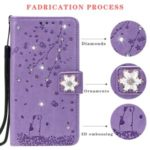Rhinestone Decor Embossing Cat and Cherry Wallet Leather Phone Casing for iPhone 11 Pro 5.8 inch – Purple