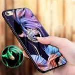 Luminous Tempered Glass PC + TPU Unique Shell with Kickstand for iPhone 8/7 4.7 inch – Fish