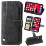 Matte Leather Wallet Stand Phone Cover Rotary Card Holder Case for iPhone 11 Pro Max 6.5 inch – Black