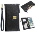 MOLAN CANO Zipper Pocket Leather Wallet Phone Cover Shell with Strap for iPhone 7 / 8 4.7-inch – Jet Black