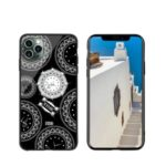 NXE TIME Series Clock Pattern Printing Rhinestone Decor Tempered Glass TPU Combo Shell for iPhone 11 Pro Max 6.5 inch – Black