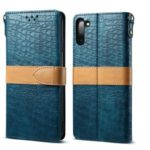 Crocodile Texture PU Leather Shell with Strap for Samsung Galaxy Note 10/Note 10 5G – Cyan