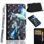 Light Spot Decor Printing Leather Wallet Case with Strap for Samsung Galaxy A70s – Wolf