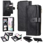 Multi-functional Retro Leather Wallet Case with Stand for Samsung Galaxy Note 10 Plus 5G/Note 10 Plus – Black