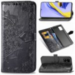 Embossed Mandala Flower Leather Wallet Covering Case for Samsung Galaxy A51 – Black