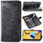 Embossed Mandala Flower Wallet Leather Stand Cover for Samsung Galaxy M30s – Black