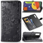 Embossed Mandala Flower Wallet Stand Leather Case for Samsung Galaxy A50s/A50/A30s – Black