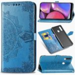 Embossed Mandala Flower Wallet Stand Leather Phone Case for Samsung Galaxy A20s – Blue