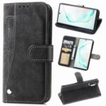Matte Leather Wallet Stand Phone Cover Case with Rotary Card Holder for Samsung Galaxy Note 10 Plus 5G / Note 10 Plus – Black