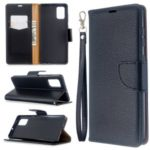 Pure Color Litchi Skin Leather Cover with Strap for Samsung Galaxy A71 – Black