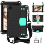 Honeycomb Texture EVA Tablet Shell with Shoulder Strap for Samsung Galaxy Tab A 8.0 Wi-Fi (2019) SM-T290/T295 – Black/Cyan
