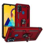 Hybrid PC TPU Kickstand Armor Phone Shell for Samsung Galaxy M30s – Red
