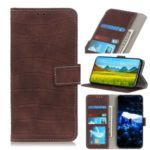 Crocodile Texture Leather Wallet Case for Samsung Galaxy A91/S10 lite – Brown
