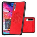 Imprint Mandala Flower PU Leather Coated Hybrid Case for Samsung Galaxy A70 – Red