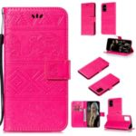 Imprint Elephant Wallet Stand Leather Shell Case for Samsung Galaxy A71 – Rose