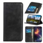 Auto-absorbed Split Leather Wallet Phone Casing for Samsung Galaxy A01 – Black