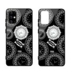NXE TIME Series Clock Pattern Printing Rhinestone Decor Tempered Glass TPU Hybrid Case for Samsung Galaxy S11e – Black