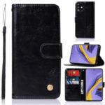 Premium Vintage Leather Wallet Case for Samsung Galaxy A51 – Black