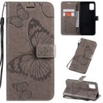 Imprint Butterfly Leather Wallet Case for Samsung Galaxy A51 – Grey