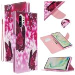 Pattern Printing Cross Texture Leather Wallet Phone Shell for Samsung Galaxy Note 10 Plus/Note 10 Plus 5G – Red Butterflies