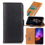 Litchi Skin Leather Stand Case with Card Slots for Samsung Galaxy A71 – Black