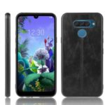 Leather Coated PC + TPU Hybrid Cover Case for LG K50 / LG Q60 – Black