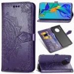 For Huawei Mate 30 Pro Embossed Mandala Flower Wallet Leather Stand Phone Cover – Purple