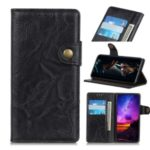 S-shape Crazy Horse Texture Leather Wallet Cell Phone Shell for Huawei nova 6 – Black
