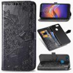 Embossed Mandala Flower Leather Wallet Covering Phone Case for Motorola Moto E6 Play – Black