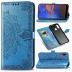 Embossed Mandala Flower Leather Wallet Shell Case for Motorola Moto E6 Plus/E6s – Blue