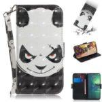 Pattern Printing Light Spot Decor Leather Wallet Stand Case for Motorola Moto G8 Plus – Panda Pattern