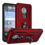 Hybrid PC TPU Kickstand Armor Style Mobile Phone Cover for Motorola Moto E5 – Red