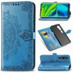 Embossed Mandala Flower Wallet Leather Shell for Xiaomi Mi CC9 Pro/Note 10/Note 10 Pro – Blue