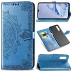 Embossment Mandala Flower Leather Wallet Phone Shell for Xiaomi Mi 9 Pro – Blue