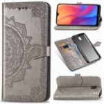 Embossed Mandala Flower Leather Protector Cover with Stand Wallet for Xiaomi Redmi 8A – Grey