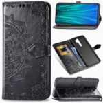 For Xiaomi Redmi Note 8 Pro Embossed Mandala Flower Wallet Leather Protection Case – Black