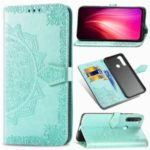 Embossed Mandala Flower Leather Case with Wallet Stand for Xiaomi Redmi Note 8 – Cyan