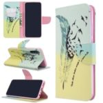 Pattern Printing Leather Wallet Case for Xiaomi Redmi Note 8T – Feather Pattern