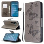 Imprint Butterfly Magnetic Leather Stand Case for Xiaomi Mi CC9 Pro / Mi Note 10 / Mi Note 10 Pro – Grey