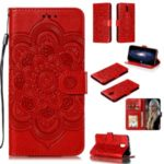 Imprint Mandala Flower Leather Wallet Case for Xiaomi Redmi 8A – Red